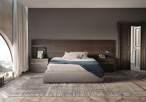 Boiserie comp.02, Tête de lit pour lit en bois mat, pour les hôtels