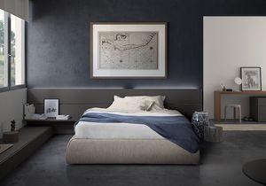 Boiserie comp.03, Tête de lit en bois, avec étagère, pour des chambres d'hôtel