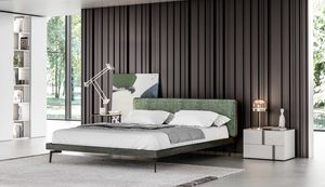 GINEVRA, Lit élégant avec tête de lit rembourrée