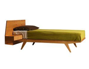 Giò 2884, Lit en bois avec table de chevet intégrée