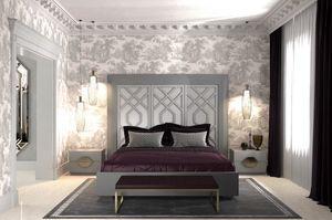 Intrigue lit avec 3 panneaux verticaux, Lit avec tête de lit avec 3 panneaux, avec motifs géométriques