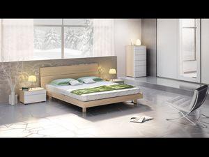 Lit Design 01, Lit avec tête de lit et cadre de lit en bois, style moderne.