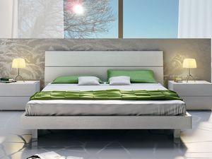 Lit Design 09, Lit double en bois, dans un style linéaire
