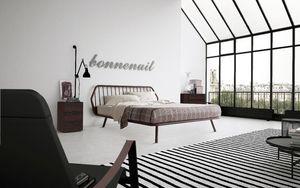 Trama, Lit double, au design minimaliste, avec cadre en bois