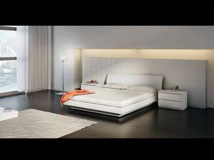Lit Design 15, Lit double avec base en bois, dans un style simple