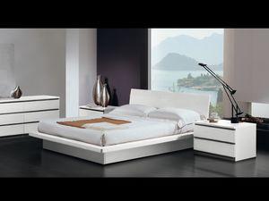 Lit Design 17, Lit double, cadre en bois, style moderne