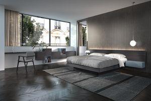 Lit Design 25, Lit double en bois, avec une longue tête de lit