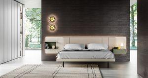 MILANO, Lit avec tables de chevet intégrées dans la tête de lit