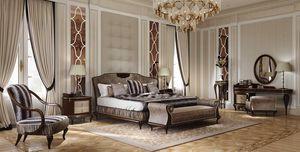 New York lit, Lit en bois, avec tête de lit rembourrée