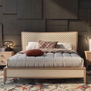 Nova NOVA1313TG, Lit en bois avec tête de lit rembourrée matelassée
