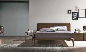 Prado, Lit en bois avec tête de lit légèrement incurvée