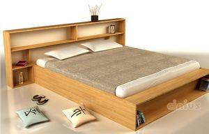 Slim, Lit peu encombrant avec tête de lit avec rangement