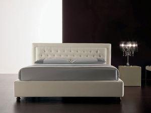 Classic, Lit moderne rembourré en polyuréthane, tête de lit matelassé