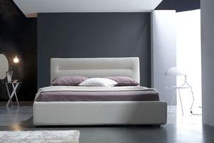 Grace grand lit, Lit avec la boîte, revêtement en cuir