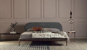 MICHELANGELO, Lit avec cadre en bois massif rembourré en cuir