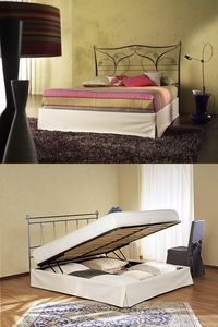 Aladdin Double, Lit double avec tête de lit en métal, avec récipient