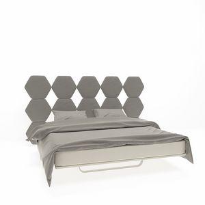 Cristallo, Lit double avec tête de lit avec hexagones