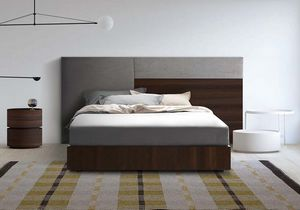 Boiserie comp.04, Tête de lit rembourrée et bois, pour des chambres modernes