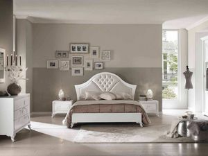 Camelia lit, Elégant lit en bois avec finition blanche