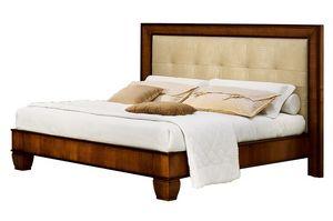 Cappella CH.0501, Walnut lit en bois, avec tête de lit en cuir écologique