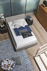 CHAMONIX SD427, Lit Queen-size avec tête de lit rembourrée douce