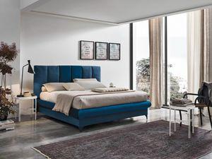 CRETA BD461, Lit avec tête de lit fait de coussins verticaux