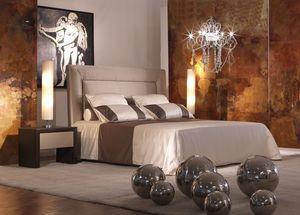 Enea, Lit avec tête de lit rembourrée, qui peut être décoré avec des éléments floraux