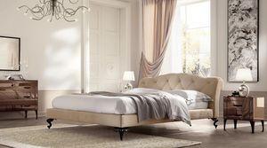 George basse lit, Avec tête de lit matelassé, revêtement personnalisable