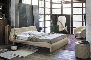 GIGLIO BD443, Lit double avec tête de lit rembourrée pour les chambres modernes