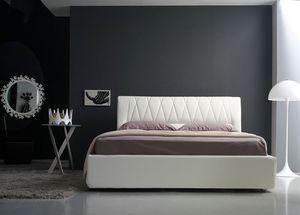 Gilda grand lit, Lit rembourrée linéaire avec tête de lit matelassé, diverses couleurs