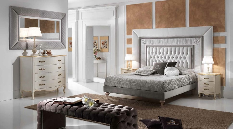 GRECALE lit capitonné, Lit classique avec une grande tête de lit capitonnée