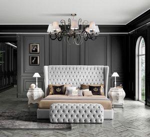 HERMES Lit, Lit classique avec grande tête de lit capitonnée