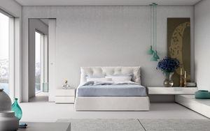Impunto, Lit double de style contemporain avec tête de lit rembourrée