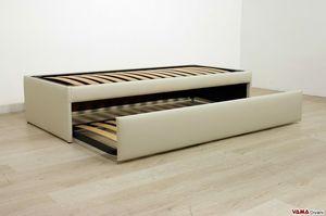 Lit simple avec deuxième lit gigogne, Lit escamotable double qui devient un lit double