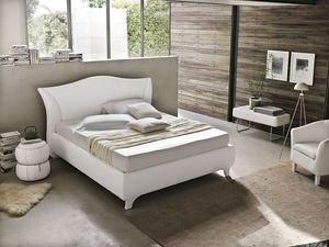 MADDALENA BD438, Lit double contemporain avec tête de lit rembourrée incurvée