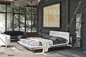 PANAREA BD445, Lit double avec tête de lit rembourrée idéal pour les chambres modernes