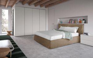 Piumotto, Lit de style moderne, avec tête de lit et cadre de lit rembourrée