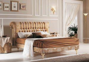PRINCIPE lit capitonné, Lit classique avec tête de lit boutonnée