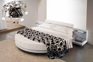 RONDÒ, Lit rond avec tête de lit équipée