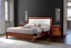 Vivre lit Art. 396, Lit de style sculpté, avec tête de lit recouvert de cuir