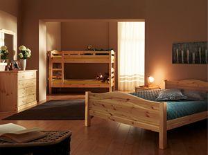 Bastia lit, Lit en bois de sapin, style rustique