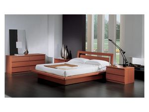 Bedroom 49, Lit avec récipient, en finition merisier, pour les chambres contemporaines