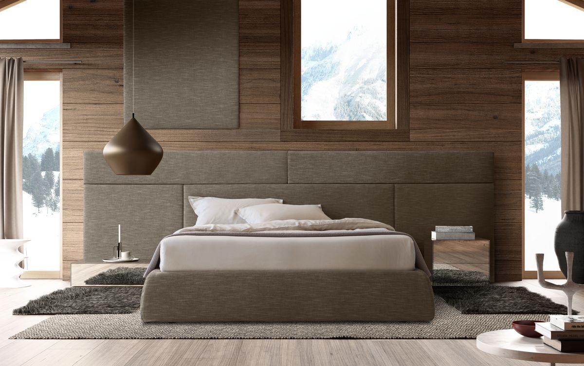 Boiserie comp.01, Tête de lit en bois pour lit, modulaire et élégante