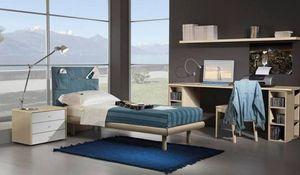 Chambre enfants 15, Chambres entièrement meublés pour les enfants, lit, tête de lit en jeans avec des poches