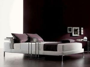 Cleò, Avec tête de lit rembourrée avec étagère, déhoussable