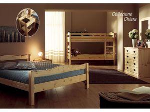 Collection Chiara, Lit en bois de pin rustique, pour les chalets
