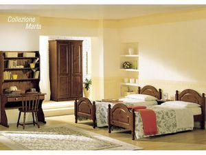 Collection Marta, Lit avec tête de lit en bois et de pied, de style rustique