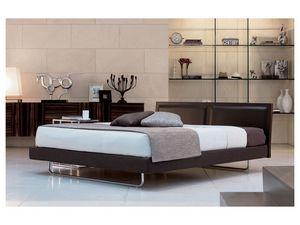 Deex, Lit moderne avec tête de lit en cuir, des lattes de bois orthopédiques