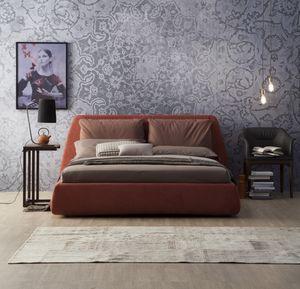 DHARMA, Lit rembourré, avec une grande tête de lit avec des coussins