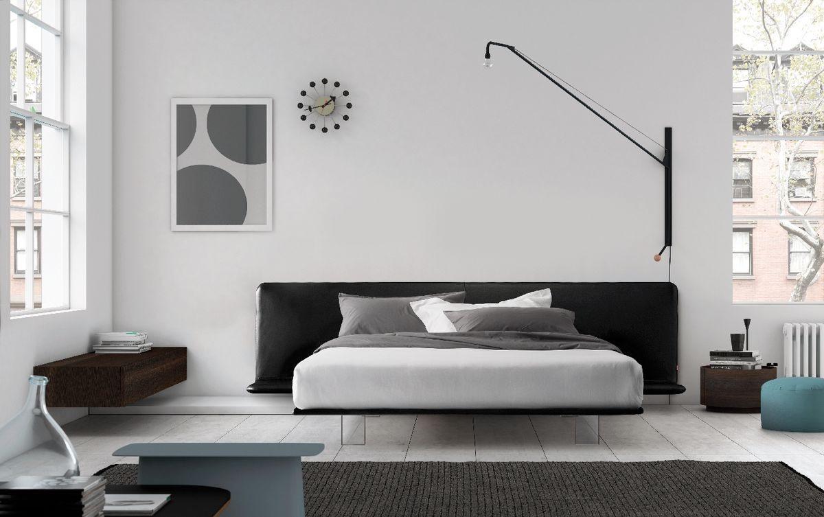 Filo bed, Lit avec cadre rembourré, pieds méthacrylate